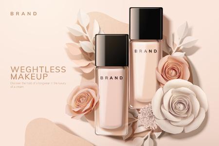Fondotinta in bottiglia di vetro con fiori di carta, illustrazione 3d Vettoriali