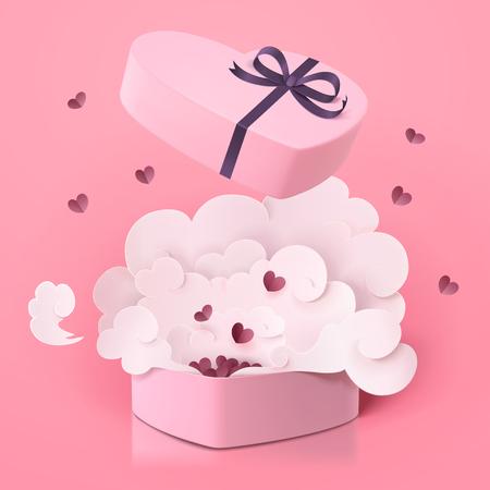Preciosa caja de regalo en forma de corazón con smog sobre fondo rosa, estilo de arte de papel en ilustración 3d