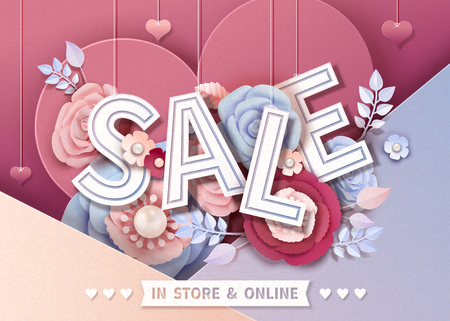 Happy Valentines day sale design with paper flowers, 3d illustration Illustration