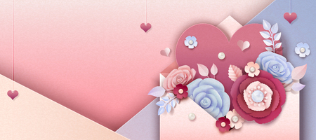 Valentines day banner with paper flowers jumping out of envelope, 3d illustration Stock Illustratie