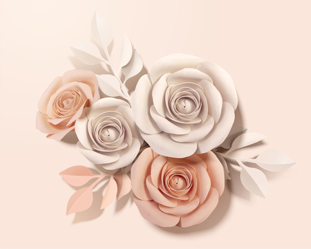 Elegant paper flower in beige and peach pink in 3d illustration