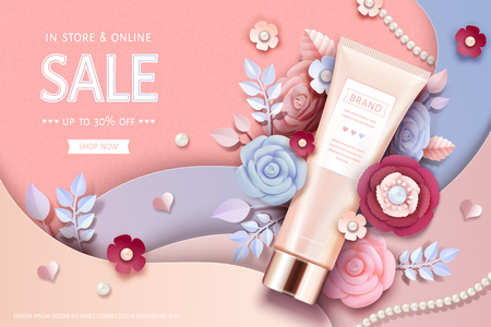 Cosmetic tube ads with beautiful paper flowers in peach pink Illustration