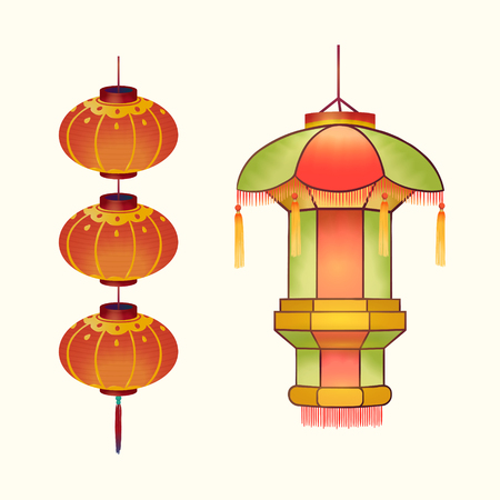 Traditional lanterns design in hand drawn style on light beige background Standard-Bild - 125134623