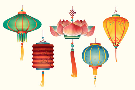 Traditional lanterns design in hand drawn style on light beige background