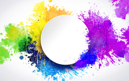 Colorful paint drops and blank round plate background Çizim