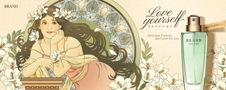 Freesia perfume ads with mucha style goddess holding flowers Ilustrace