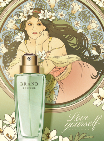 Freesia perfume poster ads with mucha style goddess holding flowers