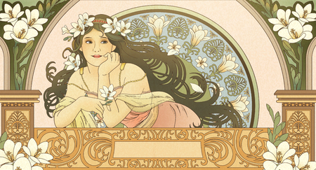 Mucha style goddess holding freesia and leaning on beautiful balcony Ilustração
