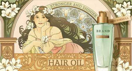 Hair oil product ads with mucha style goddess holding freesia