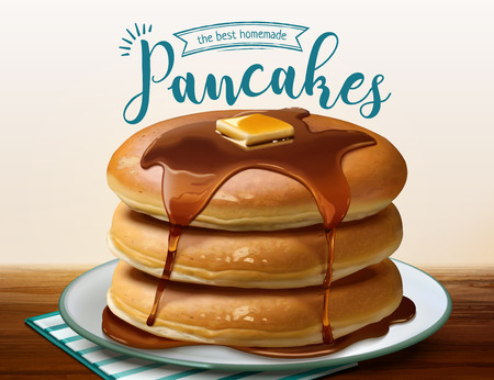 Souffle pancake with dripping honey in 3d illustration