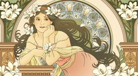 Göttin im Mucha-Stil, die Freesie hält und sich auf schöne coloum stützt