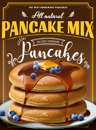 Souffle pancake mix ads with dripping honey in 3d illustration