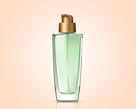 Green cosmetic bottle isolated on complexion background in 3d illustration