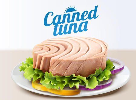 Canned tuna on white dish with lettuce in 3d illustration