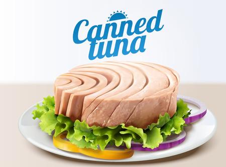 Thunfisch in Dosen auf weißem Teller mit Salat in 3D-Darstellung