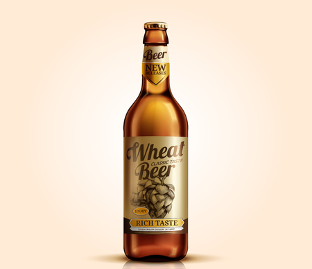 Wheat beer glass bottle with label design, 3d illustration