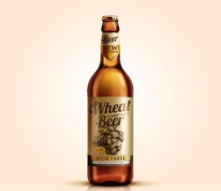 Wheat beer glass bottle with label design, 3d illustration 写真素材 - 124134334