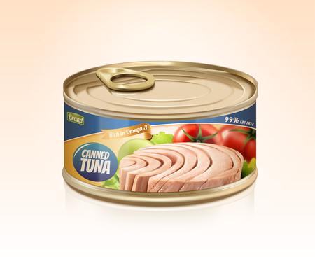 Maquette de thon en conserve avec étiquette conçue en illustration 3d