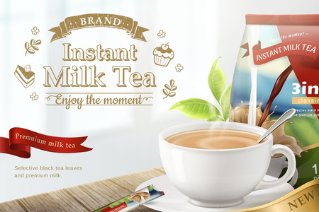 Instant milk tea on wooden table background in 3d illustration