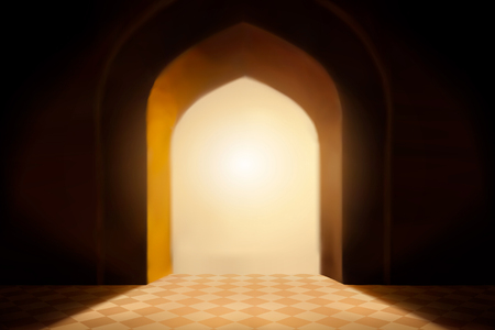 Backlit arch and rhombus pattern floor background