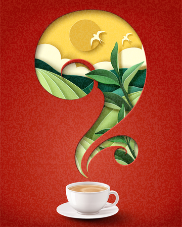 Instant milk tea poster ads with paper art terraced field background, 3d illustration