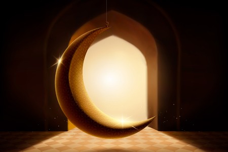 Backlit crescent moon hanging in mosque in 3d illustration