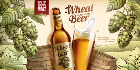 Wheat beer ads with woodcut style barrel and hops elements, 3d illustration glass bottle
