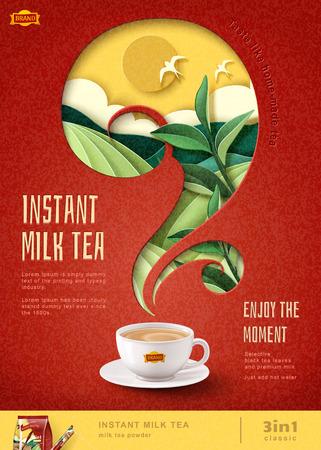 Anuncios de carteles de té de leche instantánea con fondo de campo en terrazas de arte de papel, ilustración 3d