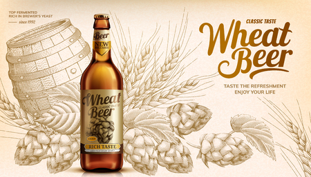 Wheat beer ads with woodcut style hops and barrel elements in 3d illustration, beige tone 写真素材 - 124134336