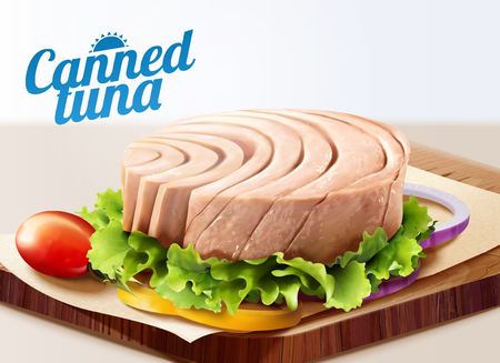 Canned tuna on chopping board with lettuce in 3d illustration Standard-Bild - 119953443