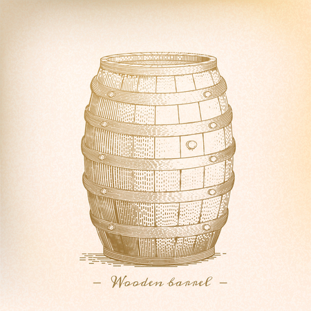 Retro wooden barrel in engraving style, beige tone