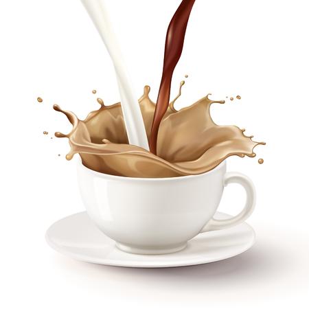 Tè al latte che si riversa nella tazza bianca, illustrazione 3d