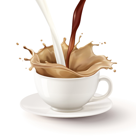 Verter el té con leche en la taza blanca, ilustración 3d