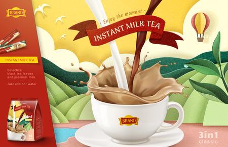 Anuncios de té con leche instantánea sobre fondo de campo en terrazas de arte de papel, ilustración 3d