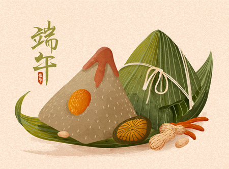 Giant rice dumplings with rich fillings, Dragon boat festival written in Chinese characters Stock fotó - 121621335