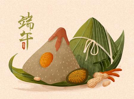 Riesige Reisknödel mit reichhaltigen Füllungen, Drachenbootfest in chinesischen Schriftzeichen Vektorgrafik
