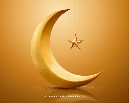 Ramadan moubarak avec croissant et étoile de couleur dorée