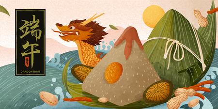 Gnocchi di riso giganti e barca tradizionale che galleggia sull'acqua, festival della barca del drago scritto in caratteri cinesi