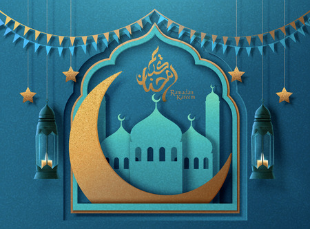 Ramadan Kareem arabic calligraphy design which means generous ramadan with paper art mosque and big crescent 写真素材 - 121621444