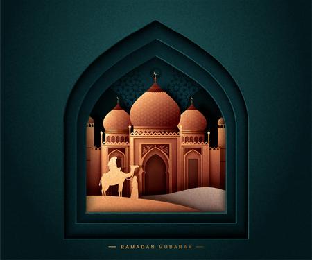 Fiesta de ramadán mubarak con mezquita sobre fondo verde oscuro