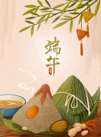 Giant rice dumplings on wooden table, Dragon boat festival written in Chinese characters Stock Illustratie