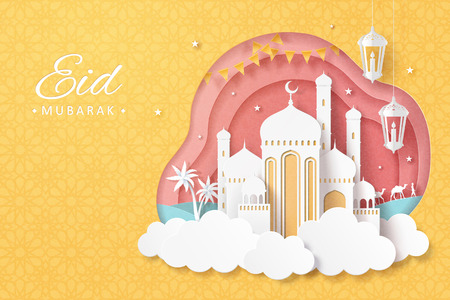 Eid Mubarak paper art design with white mosque upon cloud and lanterns on yellow background Illustration