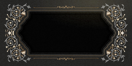 Arabesque frame with copy space on black banner