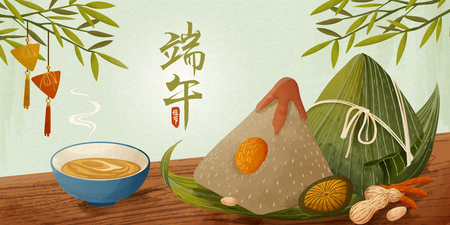 Giant rice dumplings on wooden table banner, Dragon boat festival written in Chinese characters word