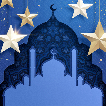 Arabesque in mosque hollow shape with hanging star