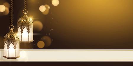 Fanoos dorati con copia spazio e banner effetto scintillante