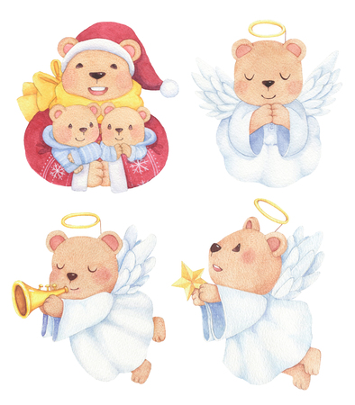 Lovely Santa clause and angel bear with wings in hand drawn watercolor style