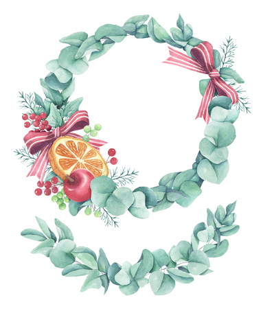 Eucalyptus leaves wreath with bow and orange in hand drawn watercolor style Reklamní fotografie