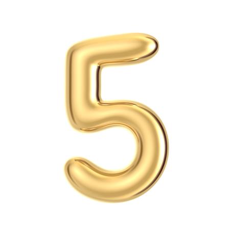 3D render golden foil number 5 on white background Stock Photo