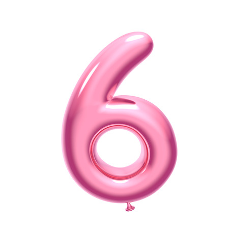 3D render pink balloon number 6 on white background Stock Photo